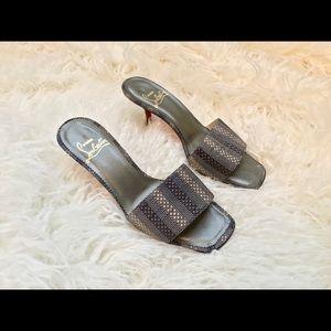 Christian Louboutin Striped Slide Sandals 37